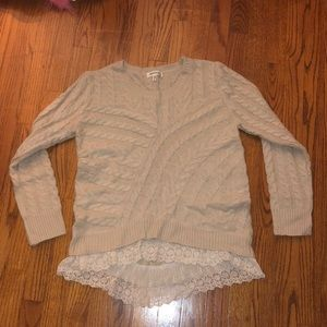 Beige Sweater with Lace Trim